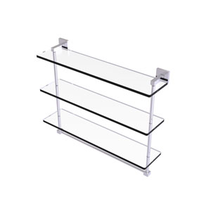 Montero Satin Chrome 22-Inch Triple Tiered Glass Shelf with Integrated Towel Bar