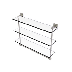 Montero Satin Nickel 22-Inch Triple Tiered Glass Shelf with Integrated Towel Bar