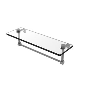 Matte Gray 16-Inch Glass Vanity Shelf with Integrated Towel Bar