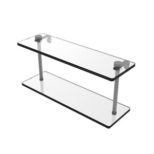 Matte Gray 16-Inch Two Tiered Glass Shelf