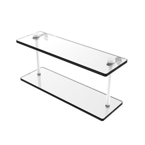 Matte White 16-Inch Two Tiered Glass Shelf