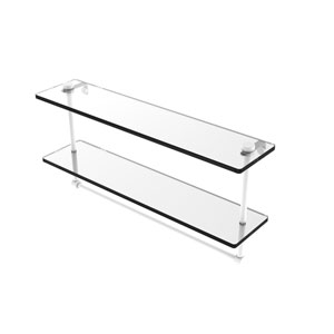 Matte White 22-Inch Two Tiered Glass Shelf with Integrated Towel Bar