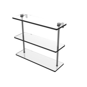 Matte Gray 16-Inch Triple Tiered Glass Shelf