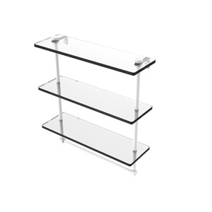 Matte White 16-Inch Triple Tiered Glass Shelf with Integrated Towel Bar