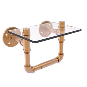 Pipeline Brushed Bronze Seven-Inch Toilet Tissue Holder with Glass Shelf