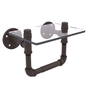 Pipeline Oil Rubbed Bronze Seven-Inch Toilet Tissue Holder with Glass Shelf