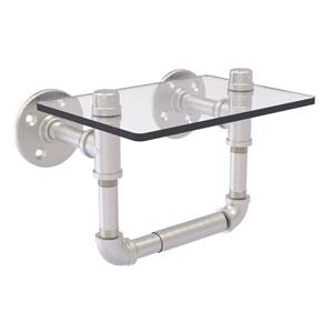 Pipeline Satin Nickel Seven-Inch Toilet Tissue Holder with Glass Shelf