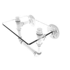 Pipeline Matte White Seven-Inch Toilet Tissue Holder with Glass Shelf