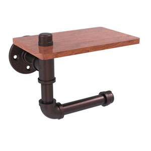 Pipeline Antique Bronze Five-Inch Toilet Paper Holder with Wood Shelf