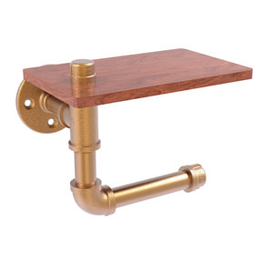 Pipeline Brushed Bronze Five-Inch Toilet Paper Holder with Wood Shelf