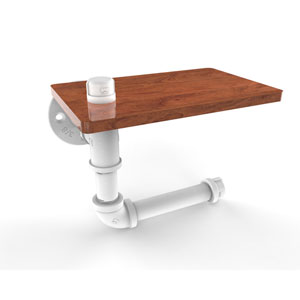 Pipeline Matte White Five-Inch Toilet Paper Holder with Wood Shelf