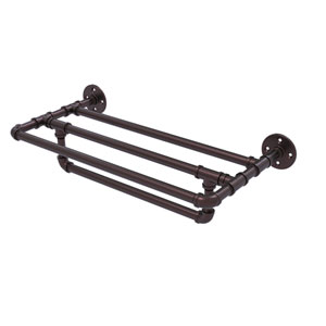 Pipeline Antique Bronze 24-Inch Wall Mounted Towel Shelf with Towel Bar
