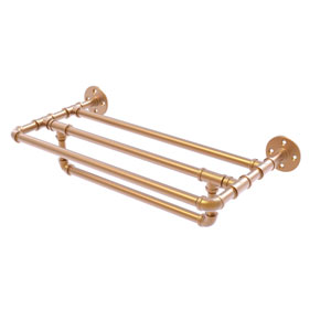 Pipeline Brushed Bronze 24-Inch Wall Mounted Towel Shelf with Towel Bar