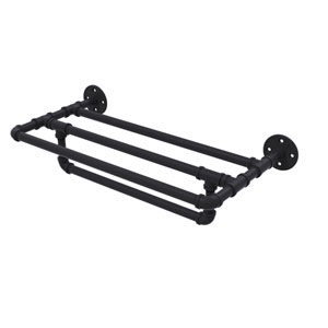 Pipeline Matte Black 24-Inch Wall Mounted Towel Shelf with Towel Bar