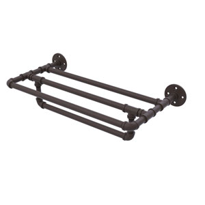 Pipeline Oil Rubbed Bronze 24-Inch Wall Mounted Towel Shelf with Towel Bar