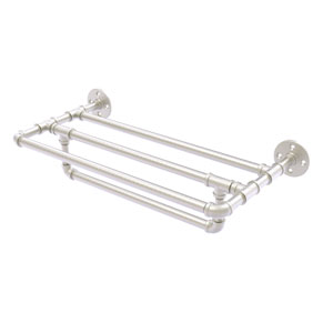Pipeline Satin Nickel 24-Inch Wall Mounted Towel Shelf with Towel Bar