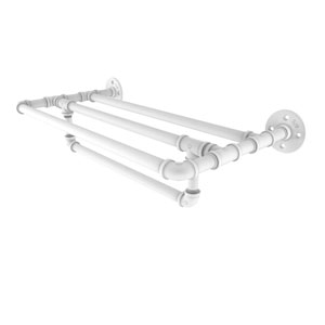 Pipeline Matte White 24-Inch Wall Mounted Towel Shelf with Towel Bar