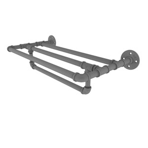 Pipeline Matte Gray 30-Inch Wall Mounted Towel Shelf with Towel Bar