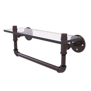 Pipeline Antique Bronze 16-Inch Glass Shelf with Towel Bar