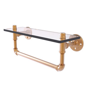 Pipeline Brushed Bronze 16-Inch Glass Shelf with Towel Bar