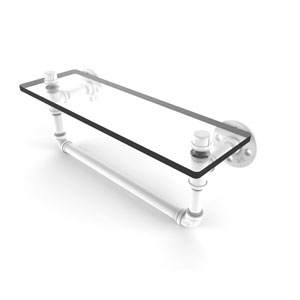 Pipeline Matte White 16-Inch Glass Shelf with Towel Bar