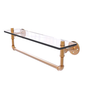 Pipeline Brushed Bronze 22-Inch Glass Shelf with Towel Bar