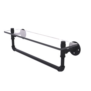 Pipeline Matte Black 22-Inch Glass Shelf with Towel Bar