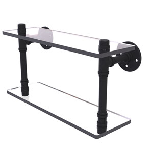 Pipeline Matte Black 16-Inch Double Glass Shelf