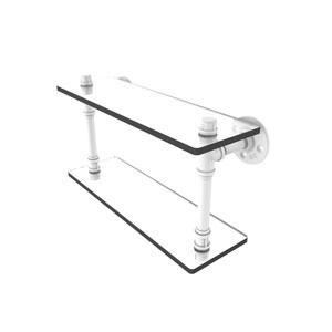 Pipeline Matte White 16-Inch Double Glass Shelf