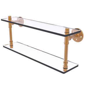 Pipeline Brushed Bronze 22-Inch Double Glass Shelf