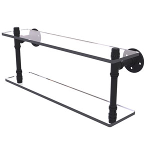 Pipeline Matte Black 22-Inch Double Glass Shelf