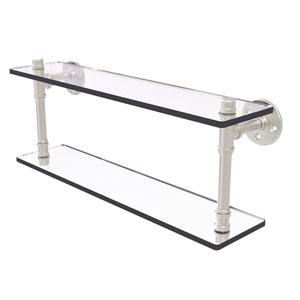 Pipeline Satin Nickel 22-Inch Double Glass Shelf