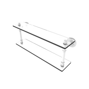 Pipeline Matte White 22-Inch Double Glass Shelf