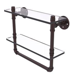 Pipeline Antique Bronze 16-Inch Glass Shelf with Towel Bar