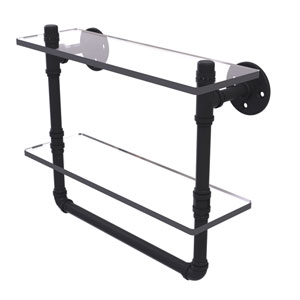 Pipeline Matte Black 16-Inch Glass Shelf with Towel Bar