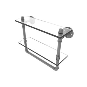 Pipeline Matte Gray 16-Inch Glass Shelf with Towel Bar