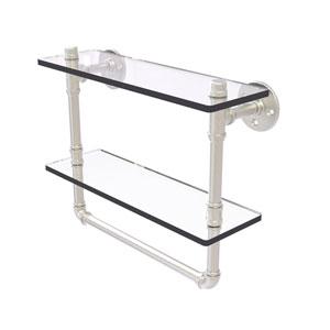 Pipeline Satin Nickel 16-Inch Glass Shelf with Towel Bar