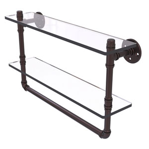 Pipeline Antique Bronze 22-Inch Glass Shelf with Towel Bar