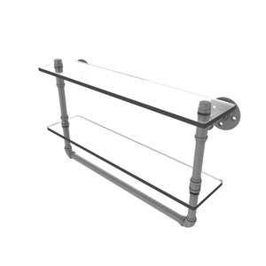 Pipeline Matte Gray 22-Inch Glass Shelf with Towel Bar