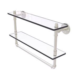 Pipeline Satin Nickel 22-Inch Glass Shelf with Towel Bar