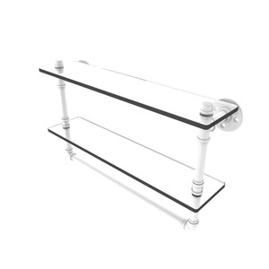 Pipeline Matte White 22-Inch Double Glass Shelf with Towel Bar
