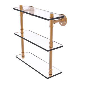 Pipeline Brushed Bronze 16-Inch Triple Glass Shelf