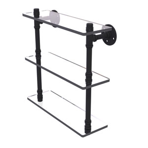 Pipeline Matte Black 16-Inch Triple Glass Shelf