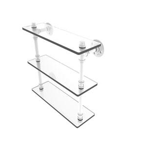 Pipeline Matte White 16-Inch Triple Glass Shelf