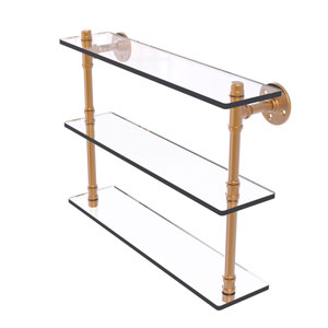 Pipeline Brushed Bronze 22-Inch Triple Glass Shelf