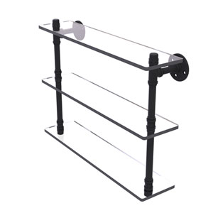 Pipeline Matte Black 22-Inch Triple Glass Shelf