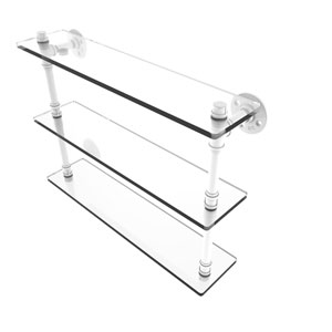 Pipeline Matte White 22-Inch Triple Glass Shelf