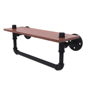 Pipeline Matte Black 16-Inch Ironwood Shelf with Towel Bar