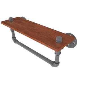 Pipeline Matte Gray 16-Inch Ironwood Shelf with Towel Bar