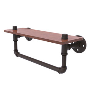 Pipeline Oil Rubbed Bronze 16-Inch Ironwood Shelf with Towel Bar
